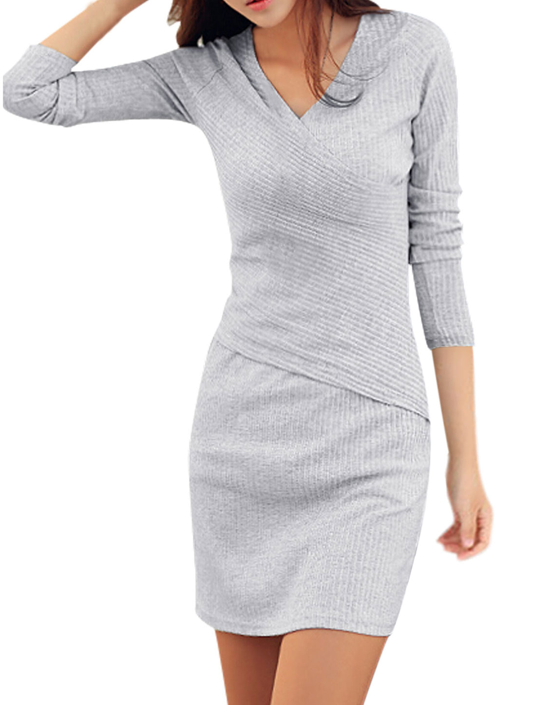 Ladies Full Sleeves Slipover Closed Fit Light Gray Knit Sheath Dress S