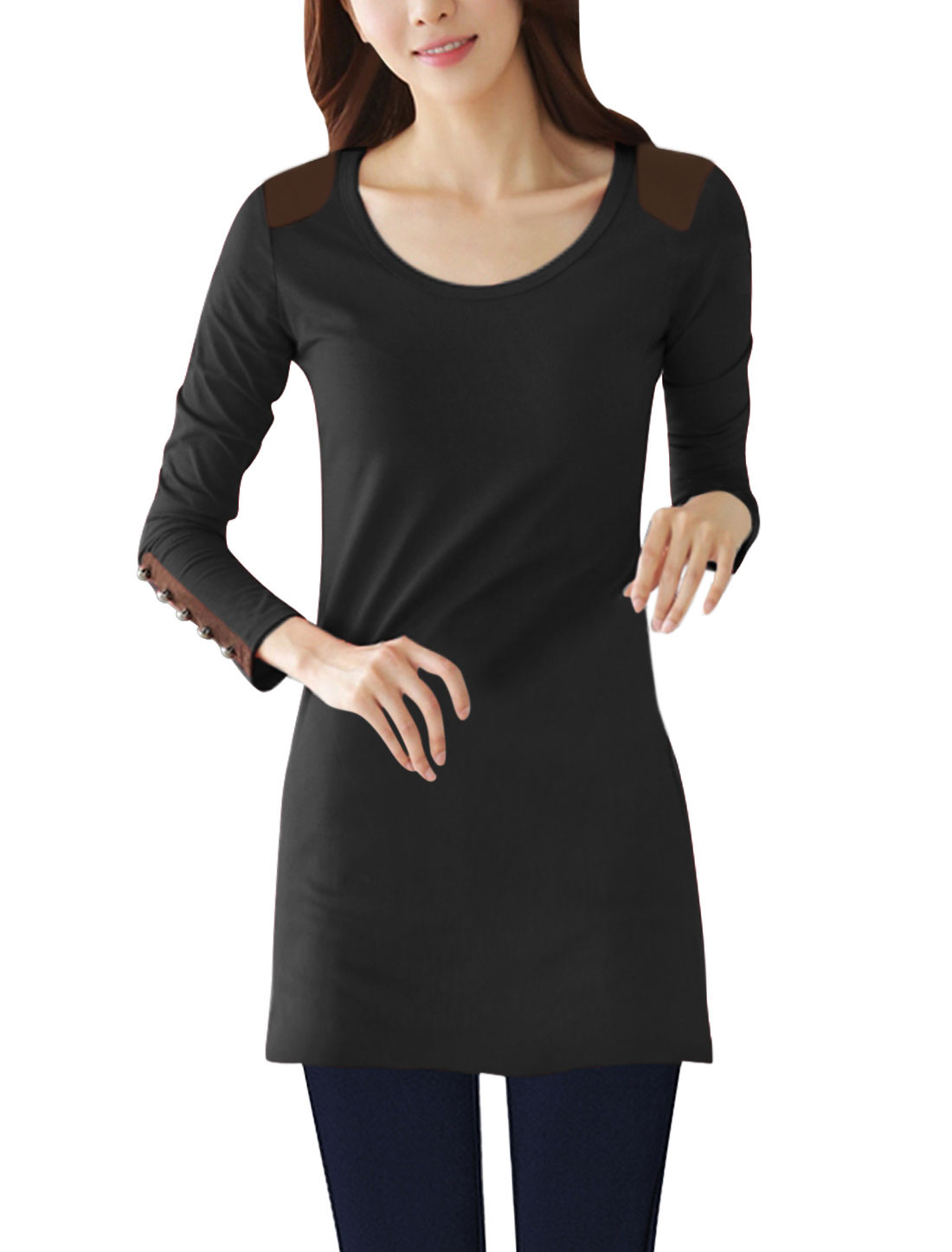 Women Round Neck Long Sleeves Casual Tunic Shirt Black S