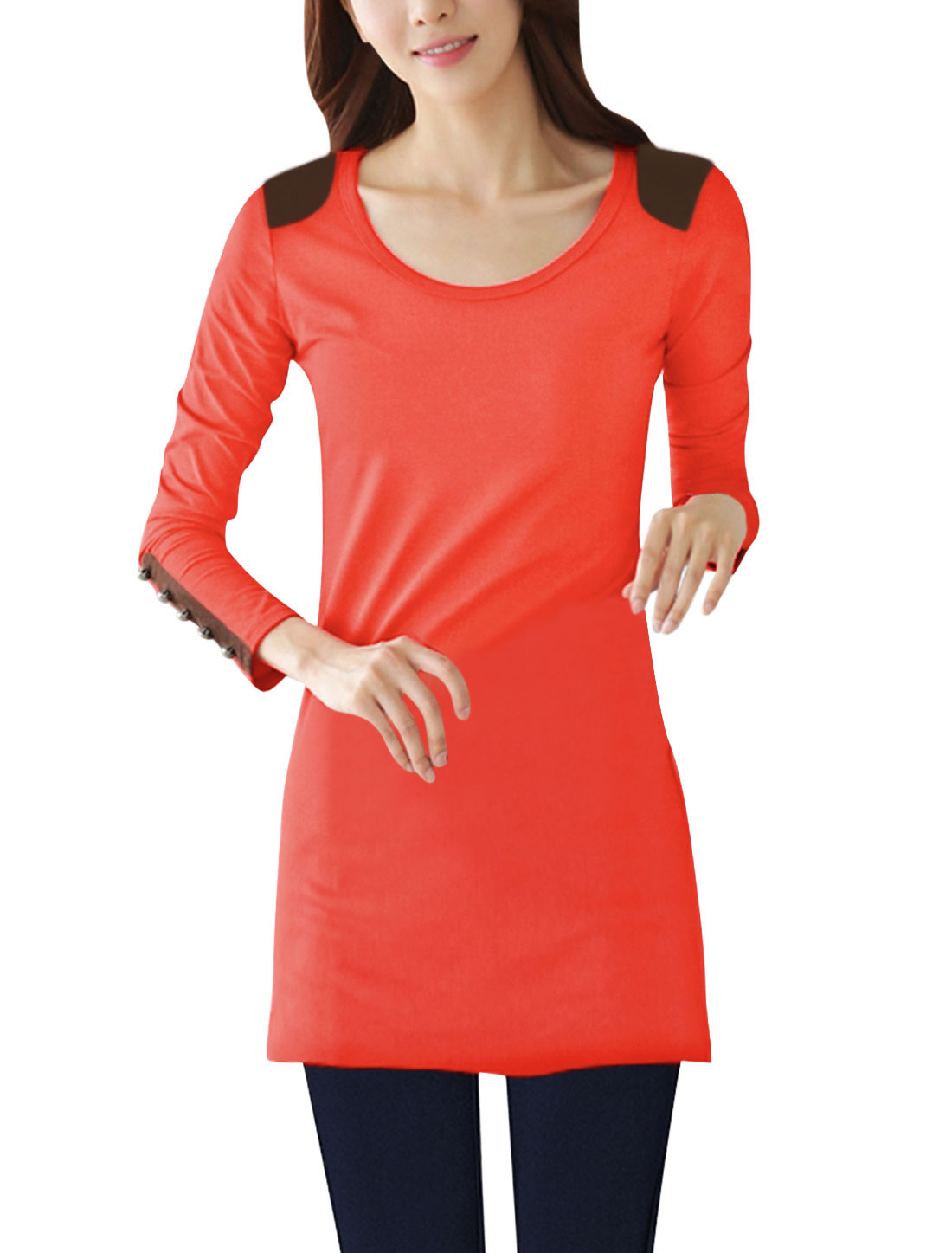 Ladies Button Decor Cuffs Long Sleeves Coral Tunic Shirt S
