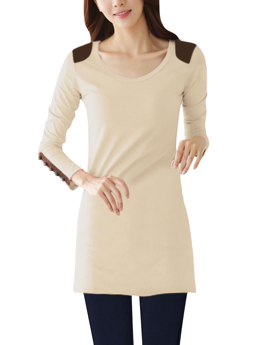 Panel Shoulder Round Neck Slim Fit Beige Tunic Shirt for Lady S