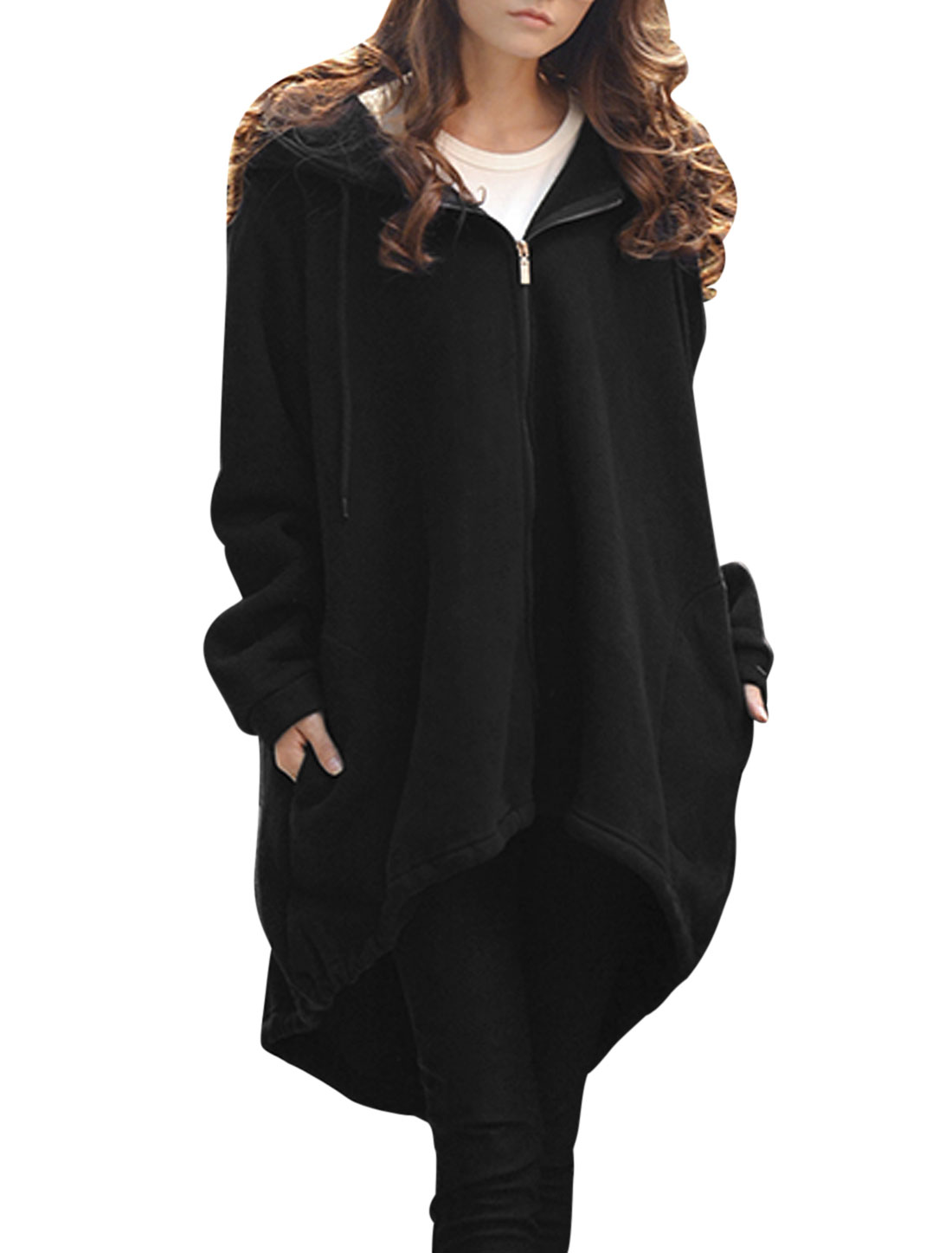 Women Black Hooded Zip Up Drawstring Split Back Irregular Hem Trench Hoodie M