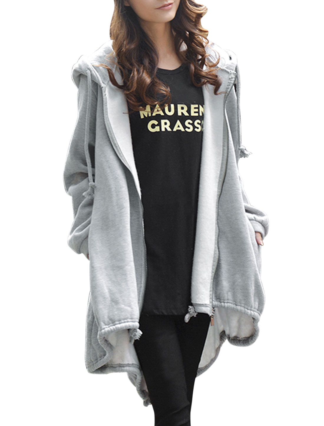 Women Light Gray Hooded Zippered Split Back Asymmetric Hem Trench Hoodie M