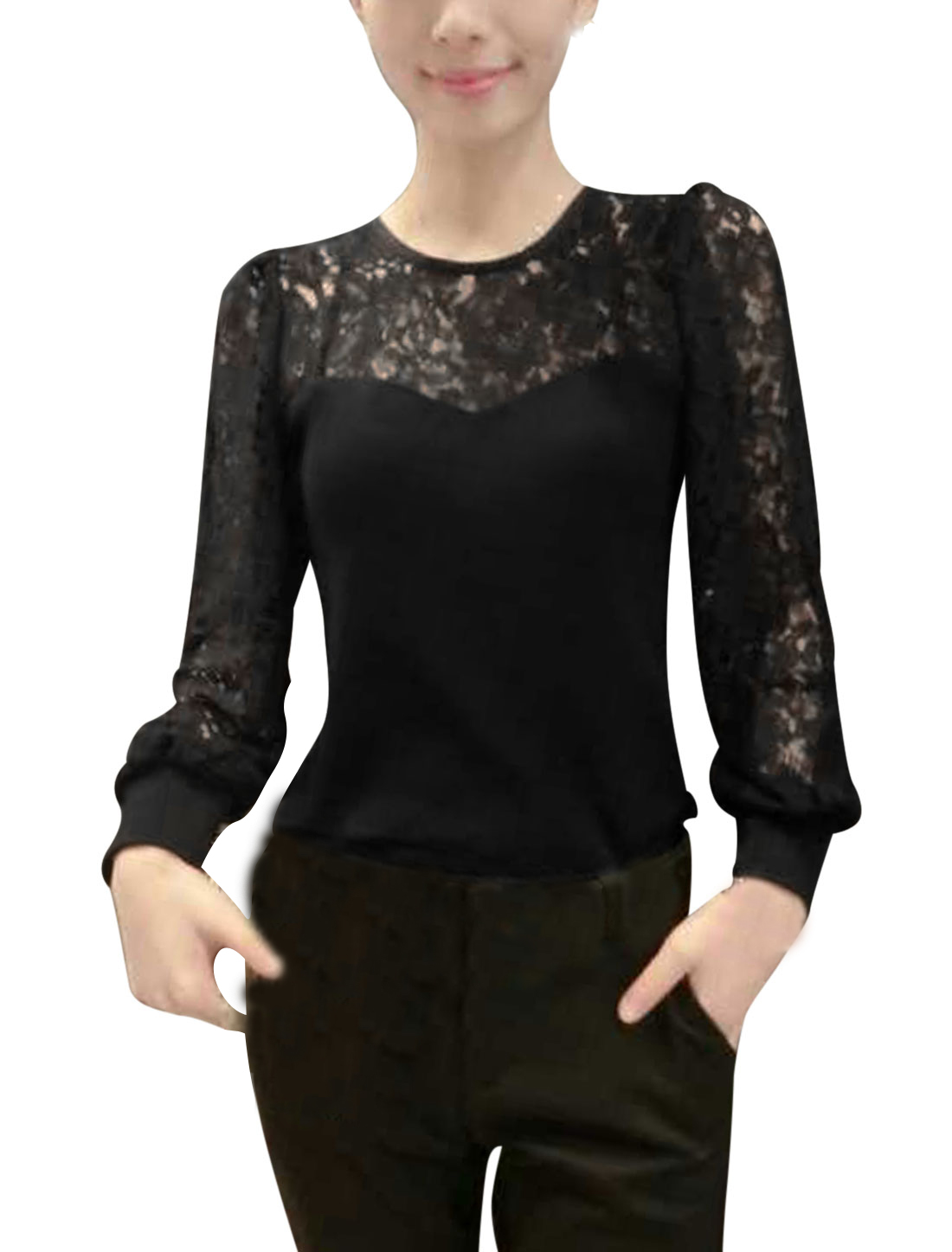 Women Lace Puff Sleeves Panel Round Neck Shirt Black XS