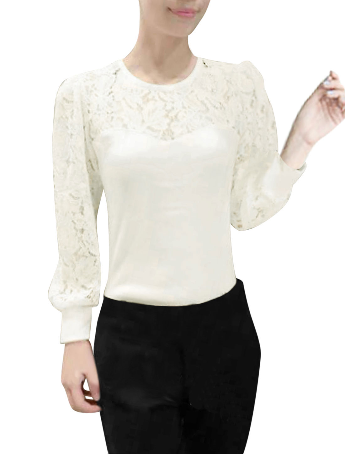 Ladies Semi-Sheer Lace Panel Slim Fit White Shirt XS