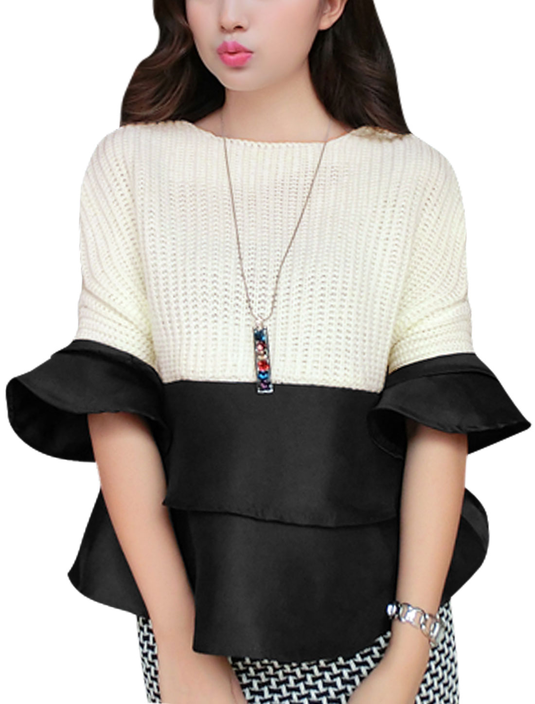 Ladies Beige Black Splice Color Block Tiered Tirm Trumpet Sleeves Pullover Knit Shirt XS