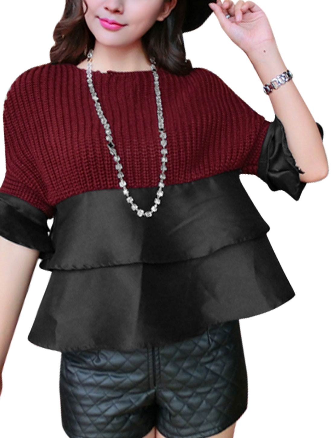 Ladies Burgundy Black Splice Color Blocking Tiered Tirm Bell Sleeves Knit Shirt XS