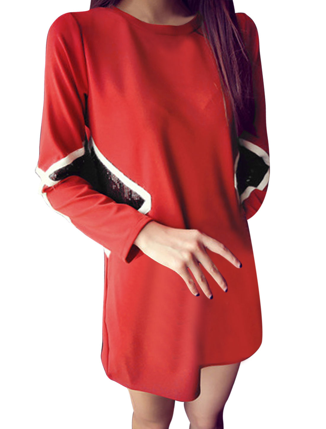 Women Round Neck Paillette-embellished Long Sleeves Chic Straight Dress Red M