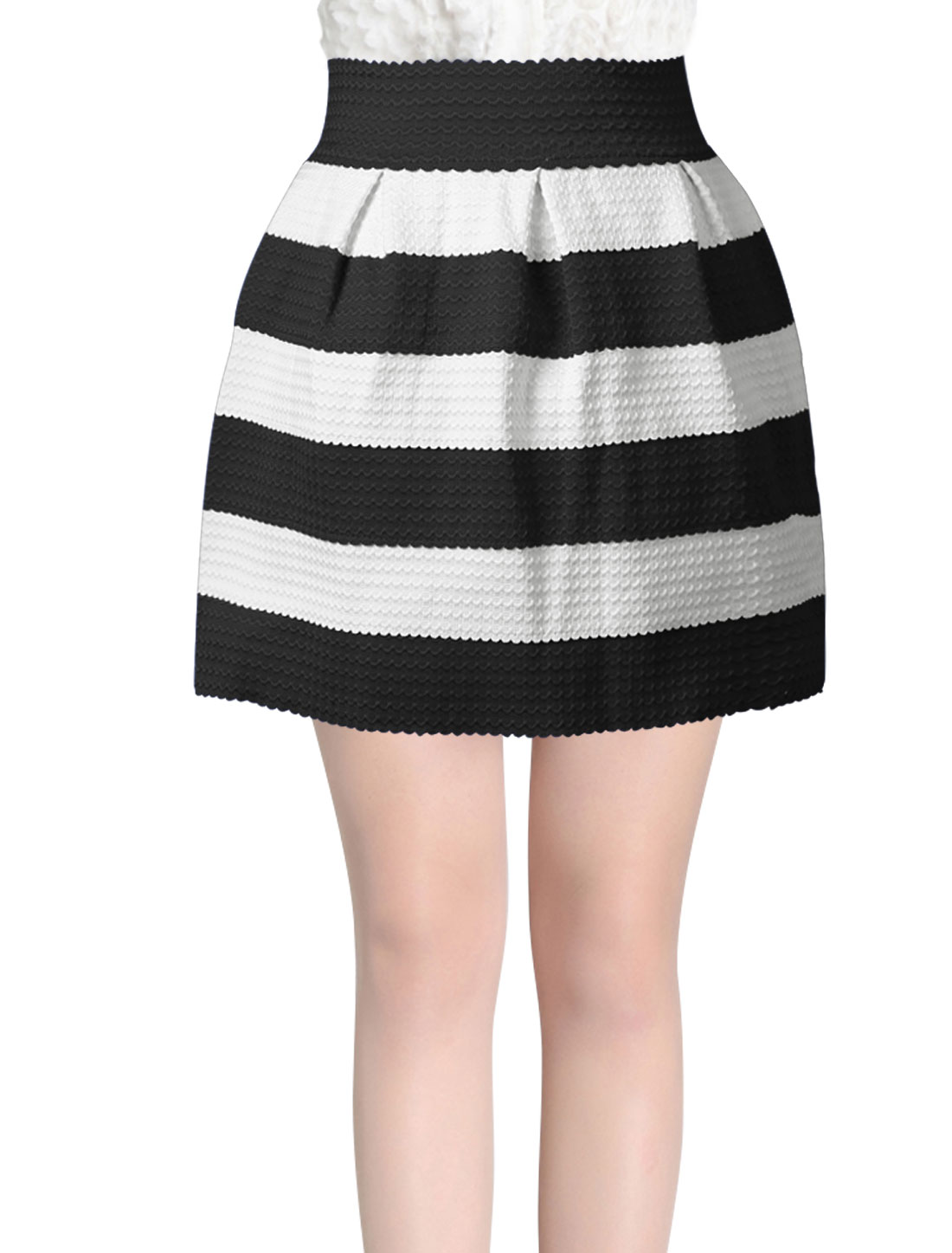 Women High Wasit Bar Striped Fashion Design Mini Skirt Black White XS