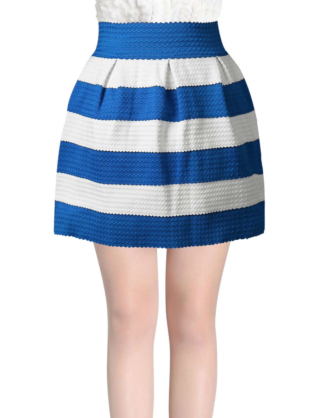 Lady Half Zipper Stretchy Wasit Stripes Casual Mini Skirt Blue White XS