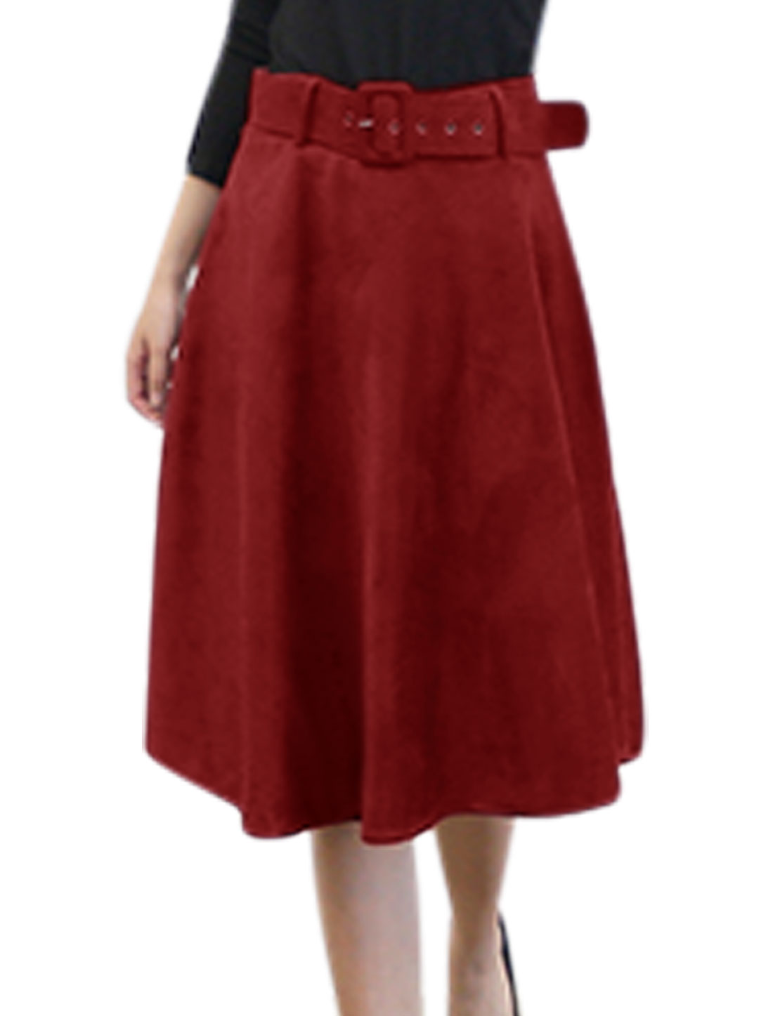 Women High Waist Half Zip Closure Casual Full Skirt w Removable Belt Burgundy M