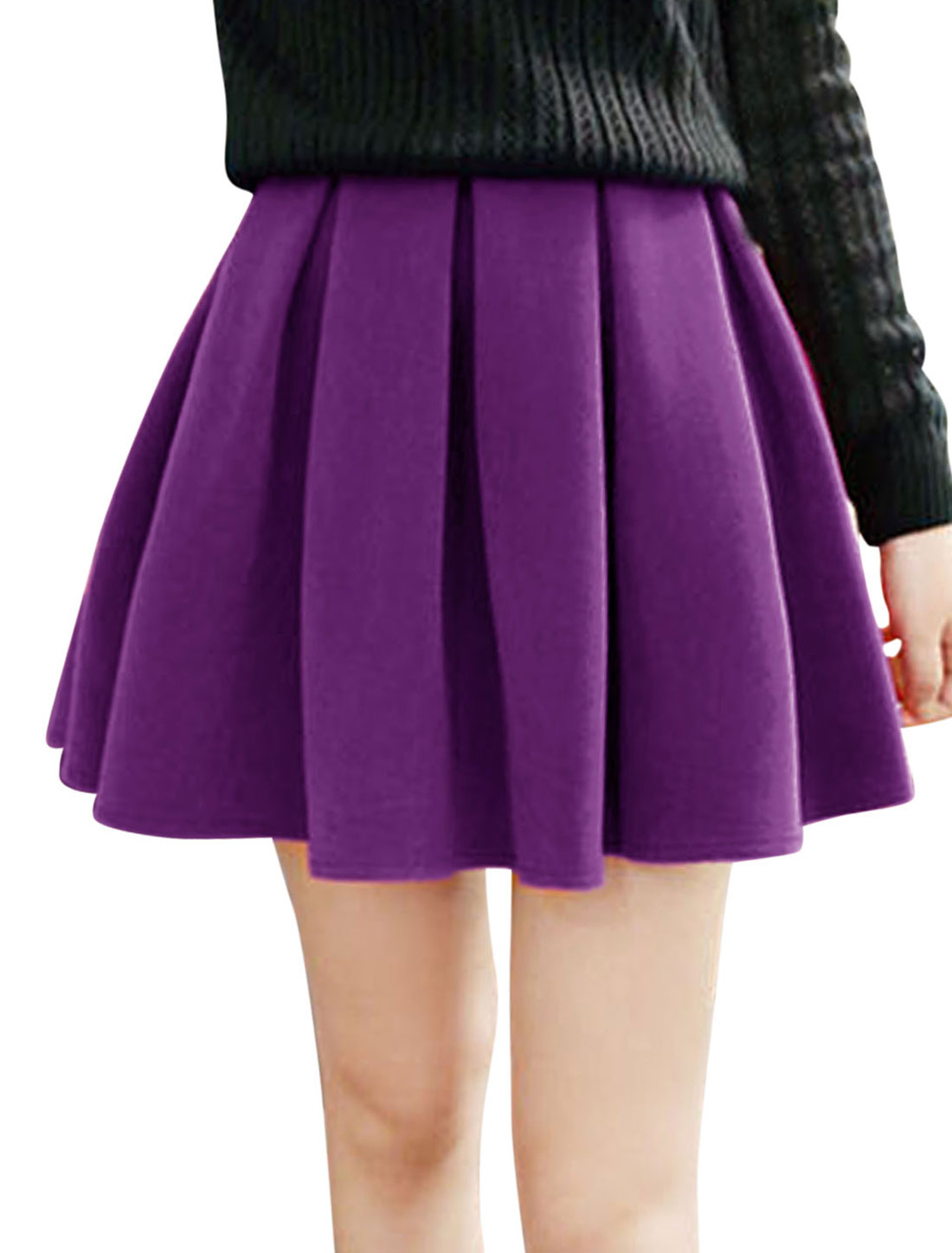 Women Purple Mini Ruffled Stretchy Waist Cozy Fit Leisure Full Skirt XS