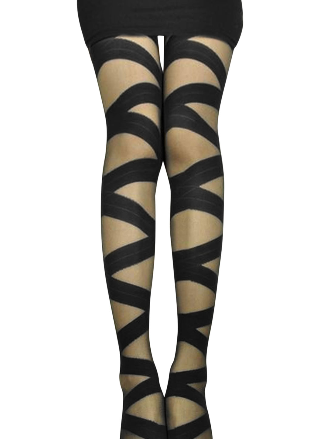Women Crossover Design Slim Fit Sexy Footed Pantyhose Black XS