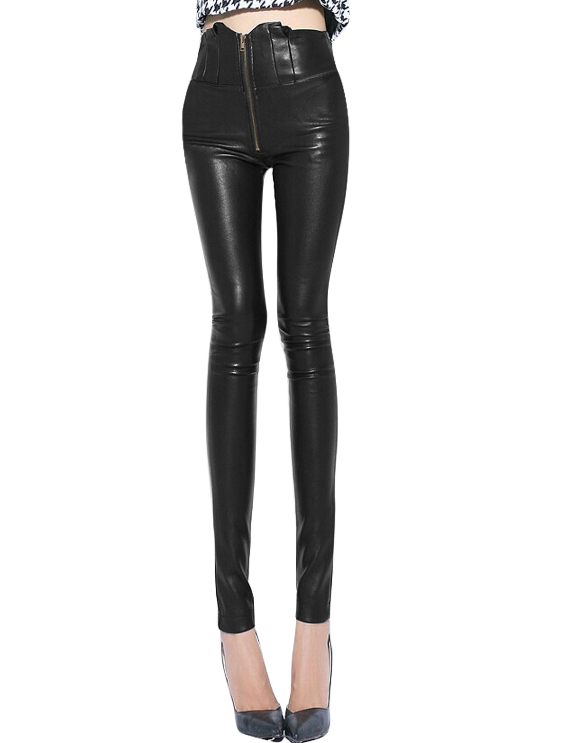 Women High Wasit Pleated Detail Zip Closure Chic Imitation Leather Pants Black XS