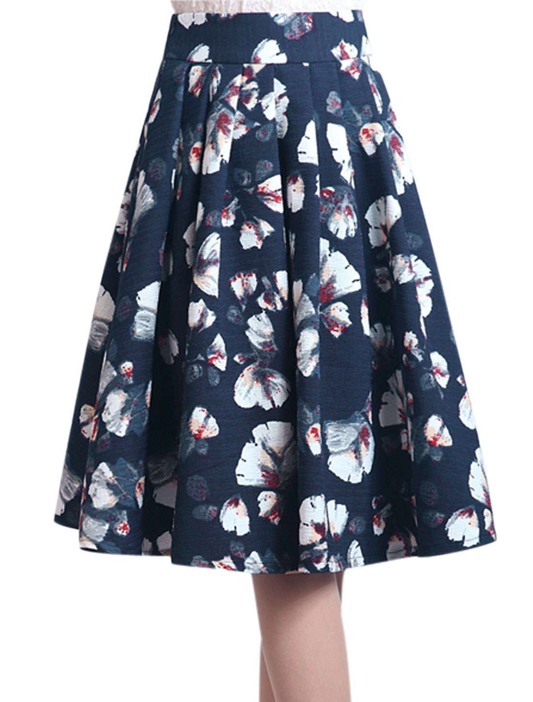 Women Elastic Waist Floral Prints Flare Fashion Full Skirt Navy Blue S