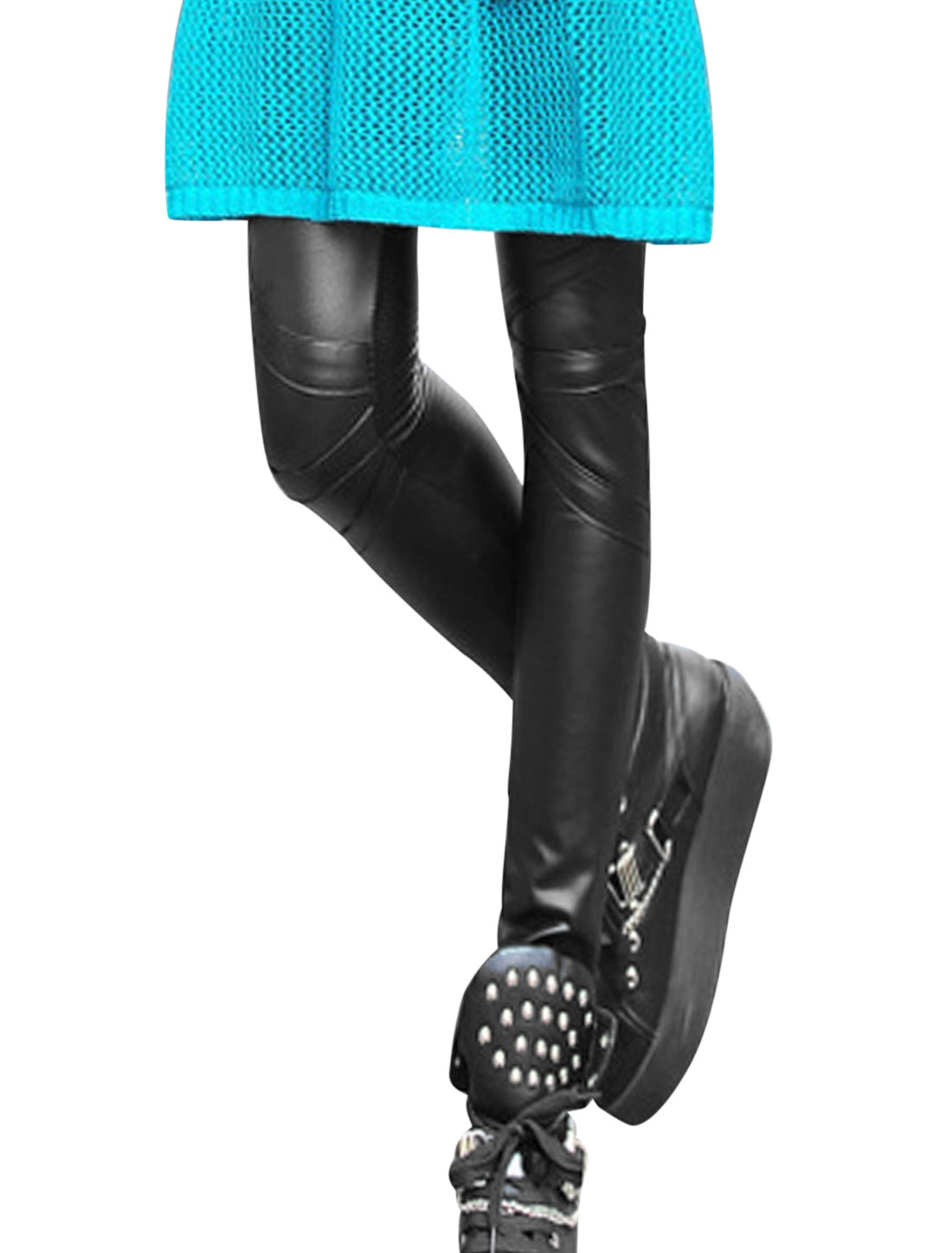 Women Elastic Waist Stripes Design Trendy Imitation Leather Leggings Black XS