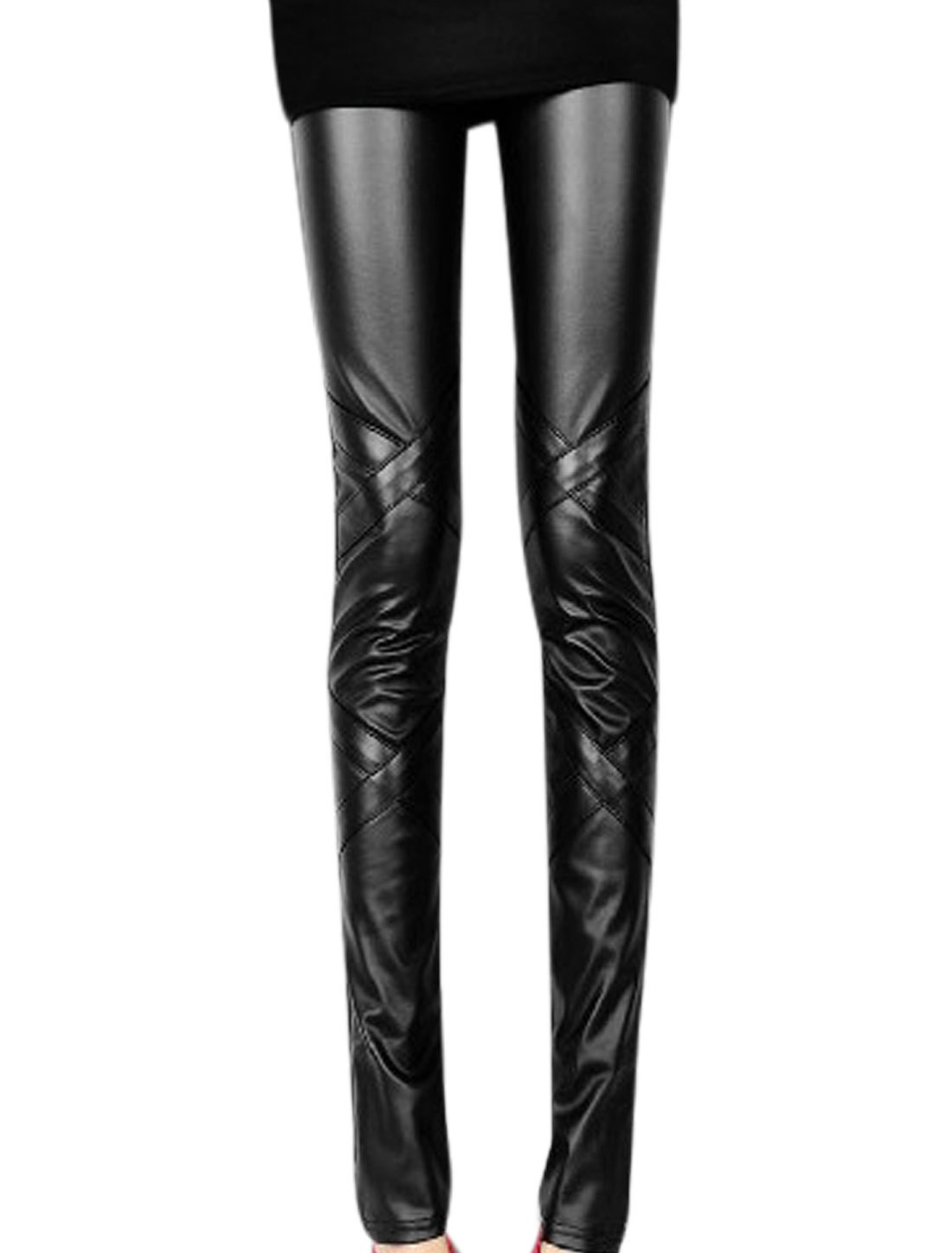 Women Elastic Wasit Criss Cross Design Chic Imitation Leather Leggings Black XS