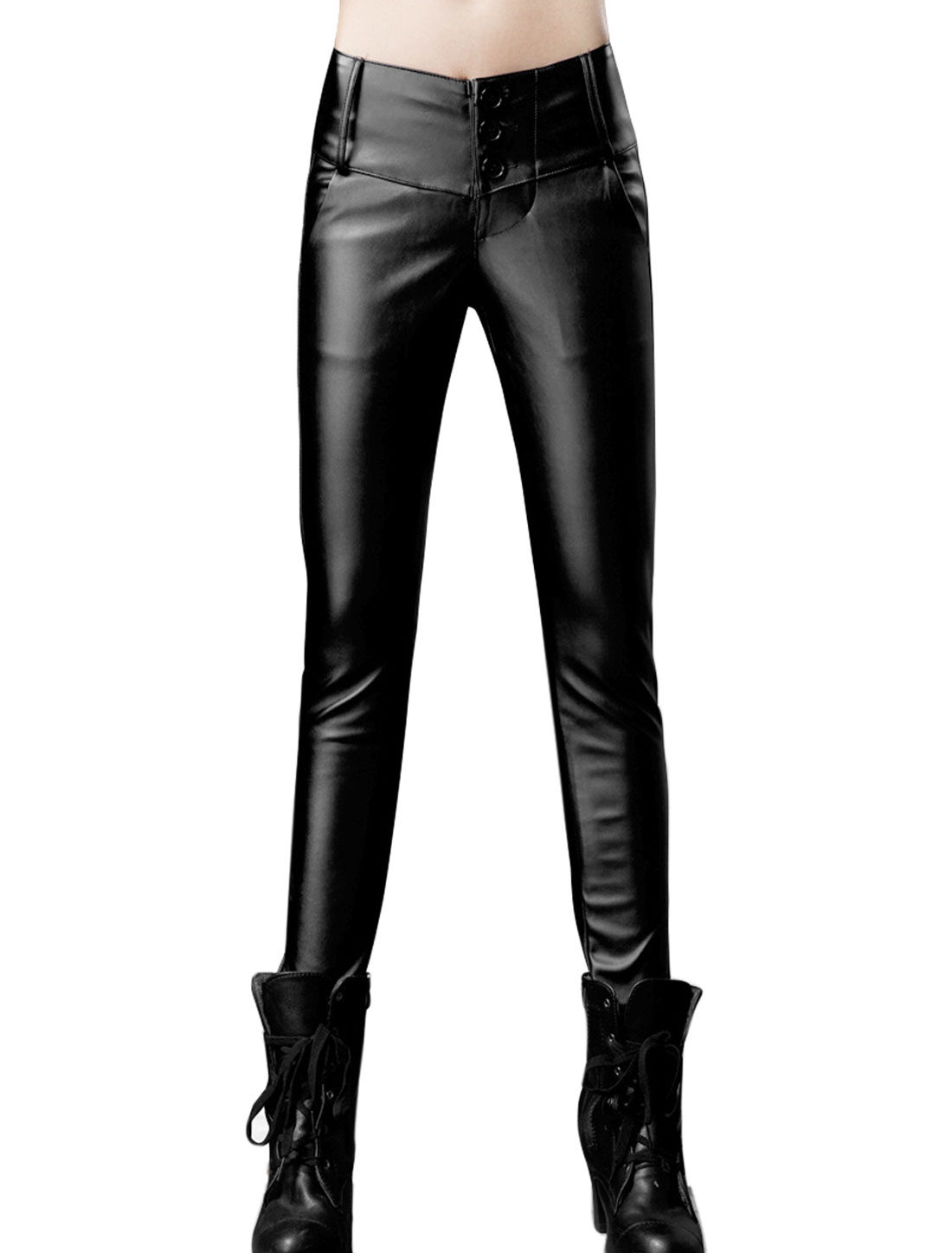 Lady High Wasit Wide Waistband Slim Fit Leisure Imitation Leather Pants Black XS