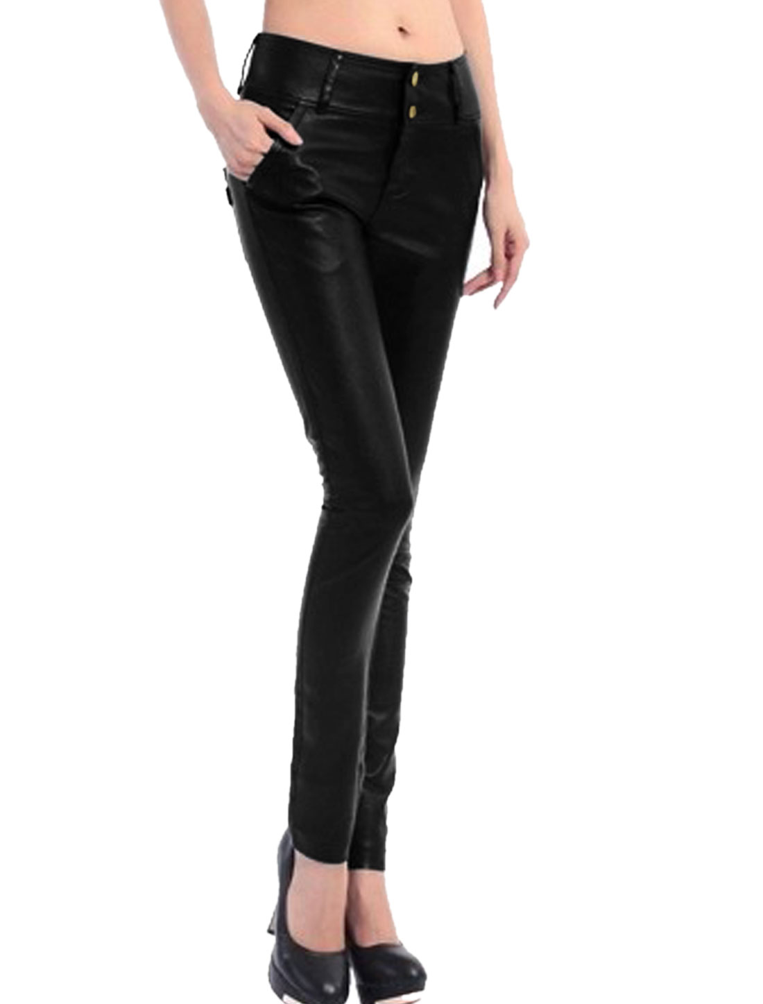 Women High Waist Two Pockets Back Skinny Imitation Leather Pants Black XS