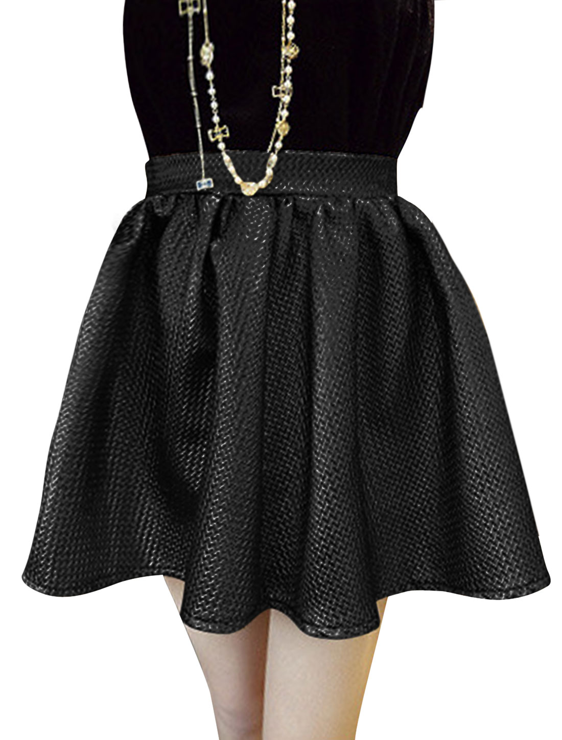 Women Elastic Waist Zip Closed Side Shinny Full Skirt Black S