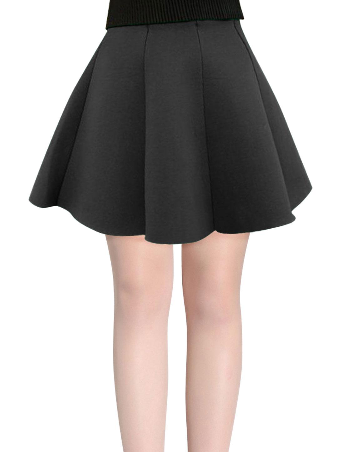 Women Elastic Waist Panel Design Sweet Full Skirt Black XS