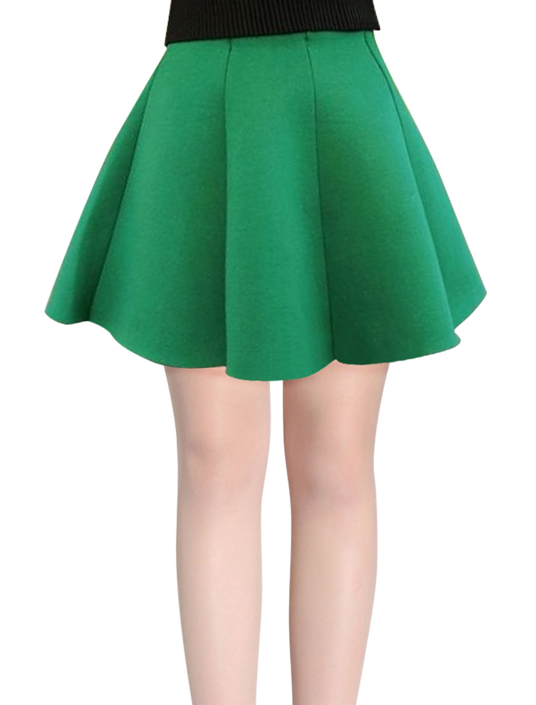 Panel Design Natural Waist Green Full Skirt for Woman XS