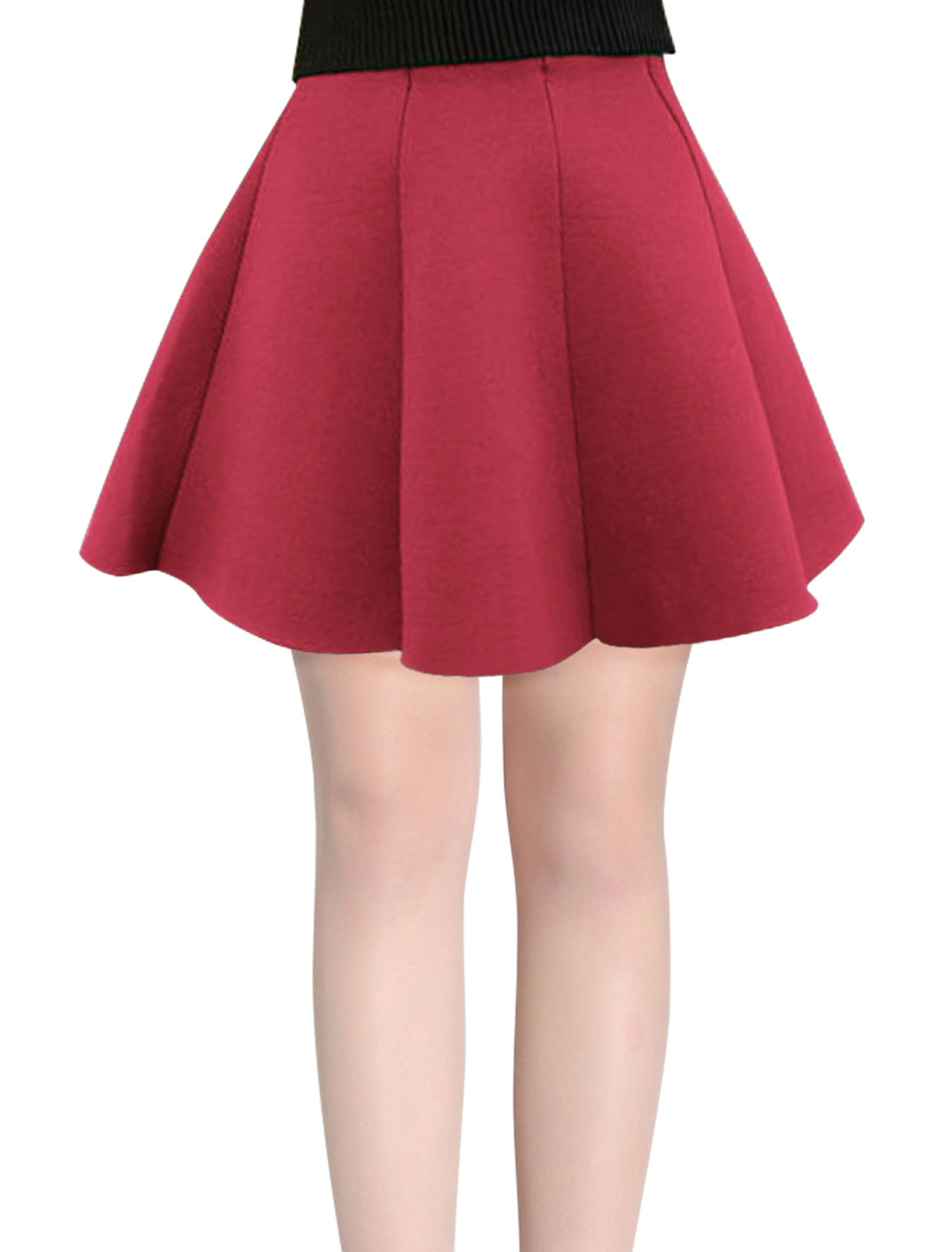 Stylish Round Hem Elastic Waist Burgundy Full Skirt for Lady XS