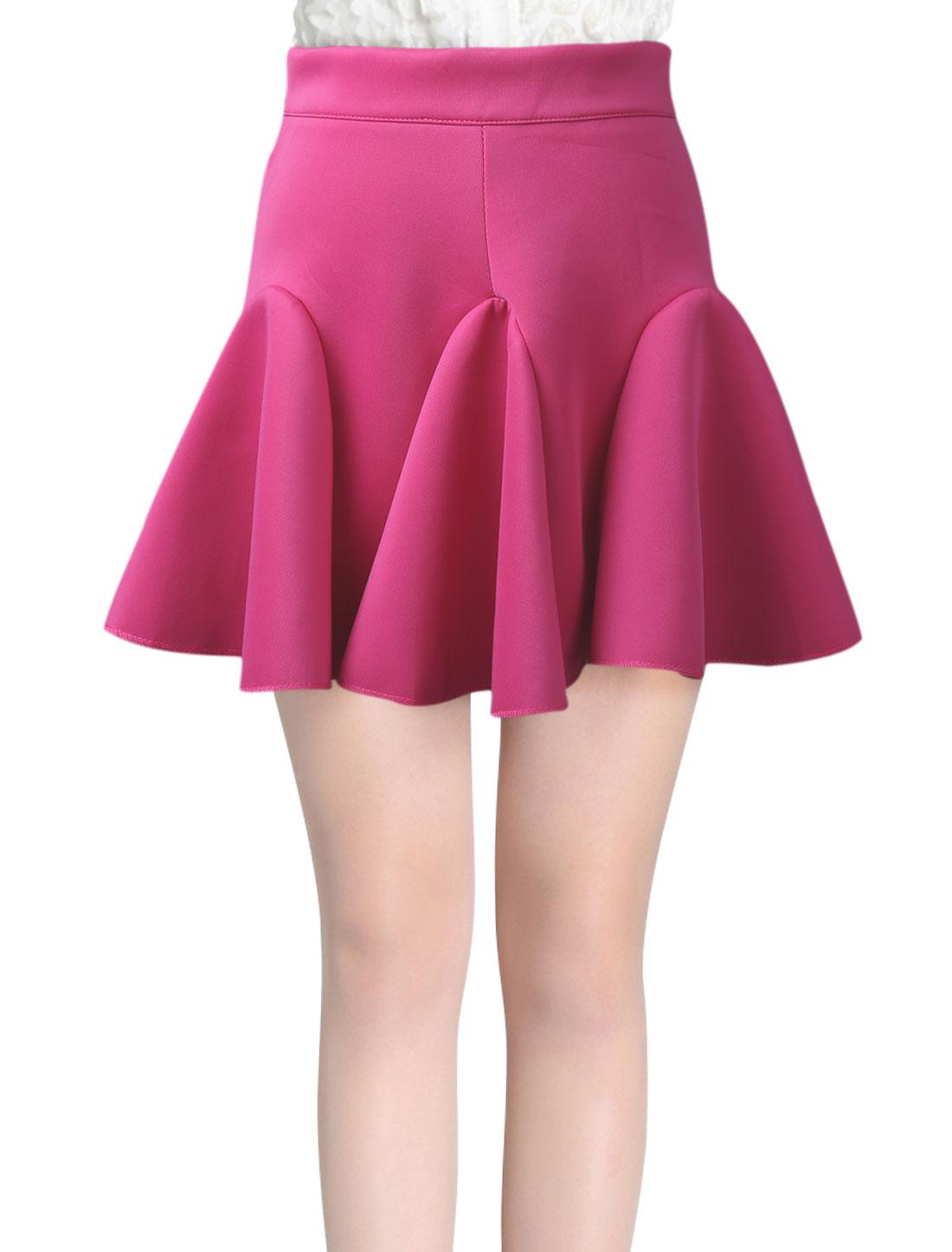 Women High Waist Ruffled Hem Casual Fit and Flare Skirt Fuchsia L