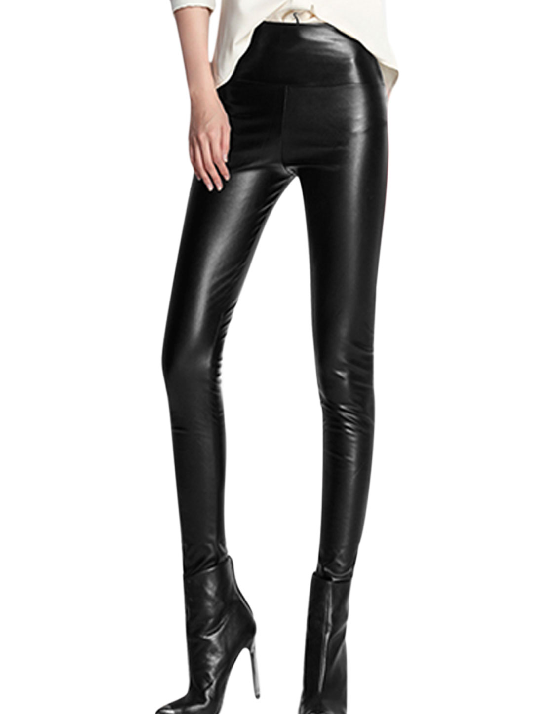 Women High Wasit Wide Waistband Skinny Chic Imitation Leather Leggings Black XS