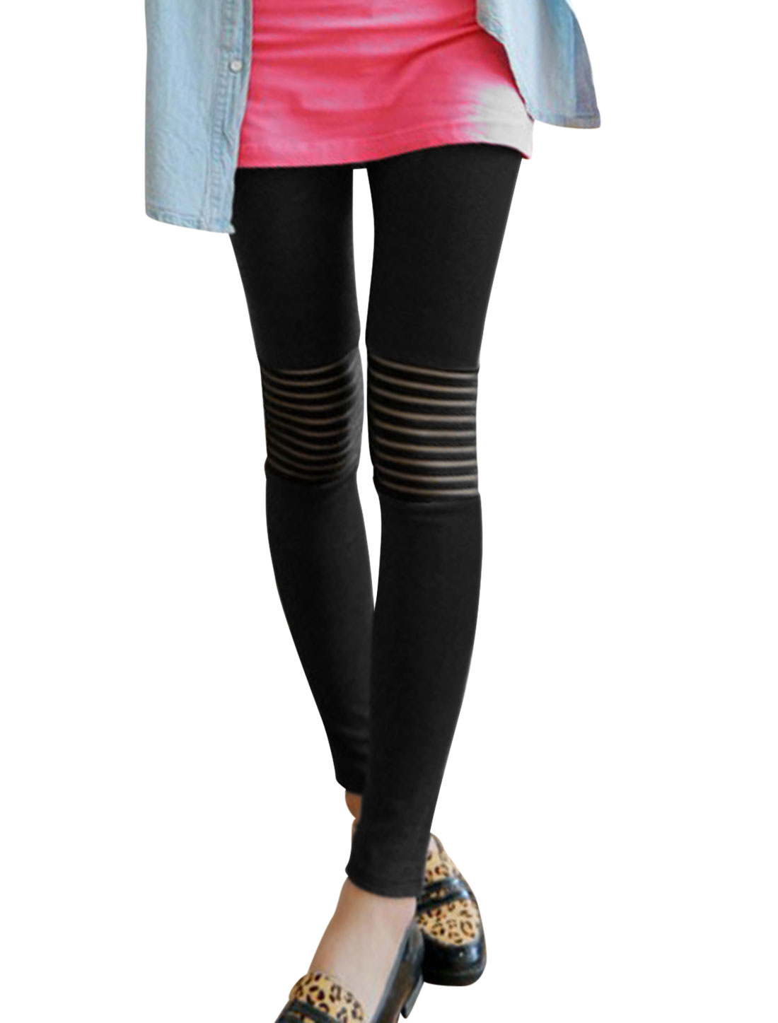Stretchy Stripes Detail Form-fitting Leisure Leggings for Women Black XS