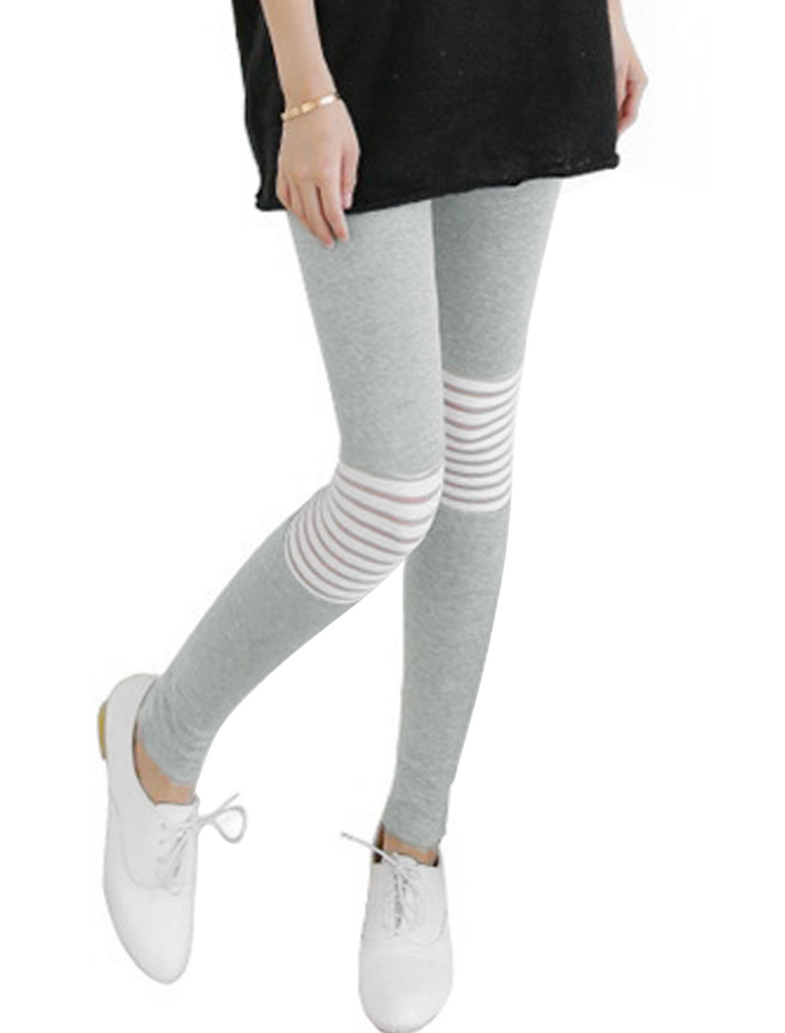 Women Stretchy Waist Horizontal Stripes Design Casual Leggings Light Gray XS