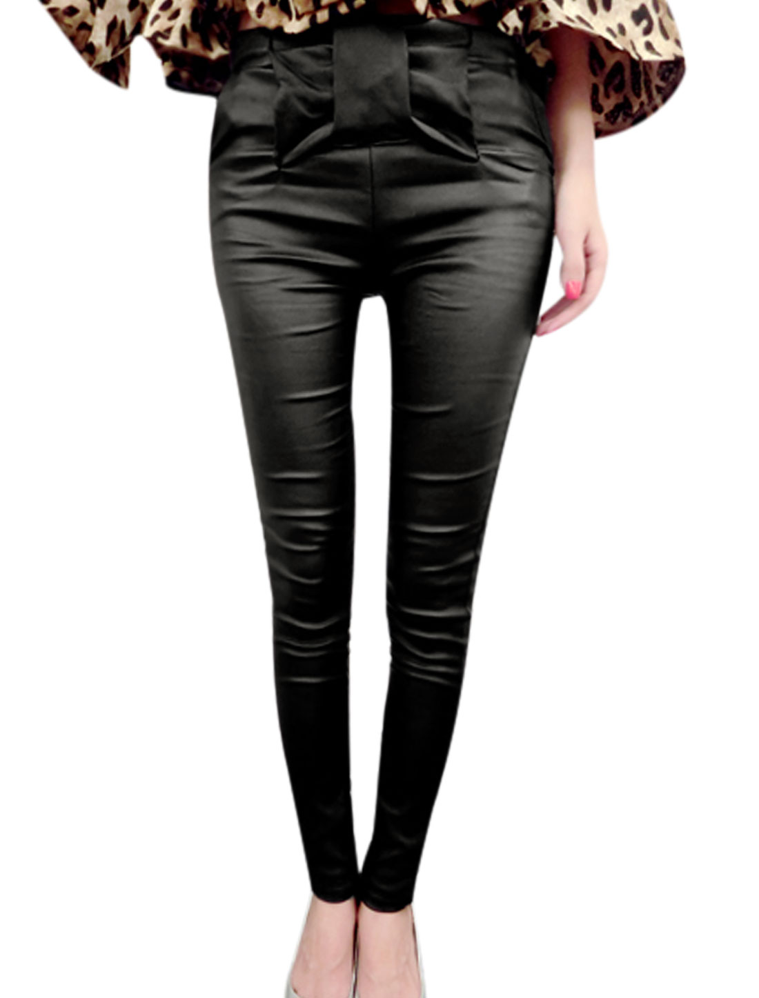 Ladies Black Butterfly Knot High Waist Zipper Side Imitation Leather Pants XS
