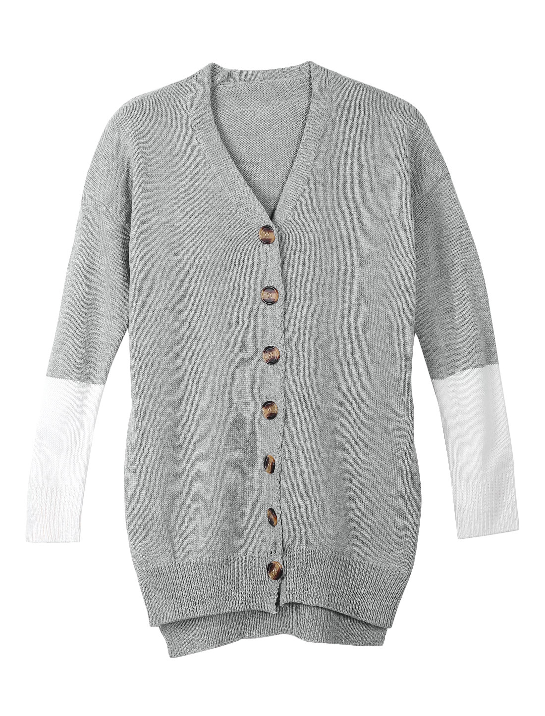 Lady Light Gray Single Breasted Irregular Hem Color Block Leisure Knit Cardigan XS