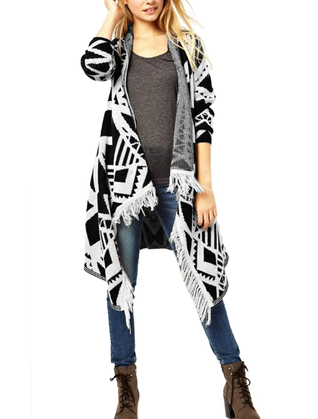 Ladies Beige Black Geometric Prints Asymmetric Hem Front Opening Tunic Cardigan S