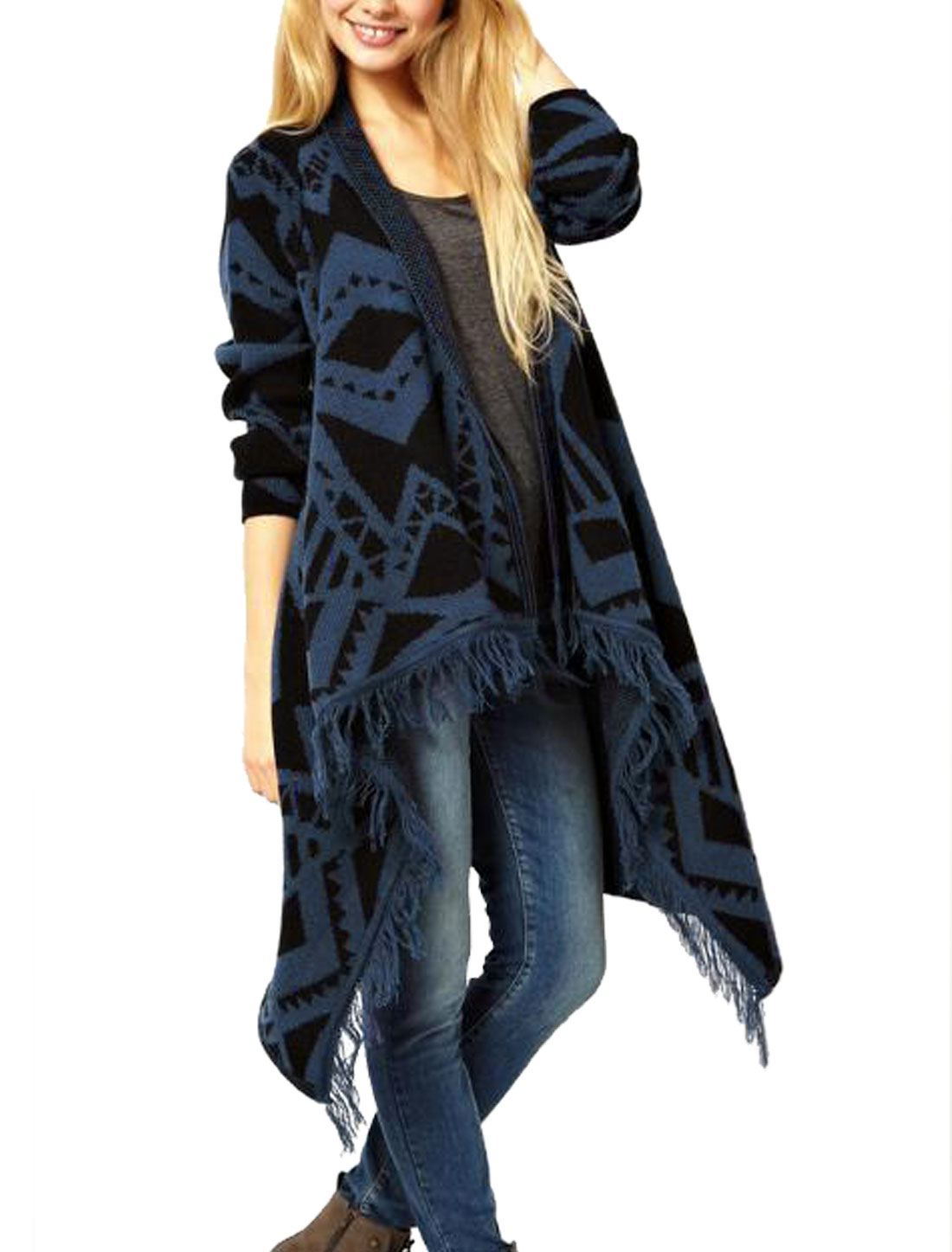 Lady Navy Blue Black Geometric Patterns Irregular Hem Tassel Edge Tunic Cardigan S
