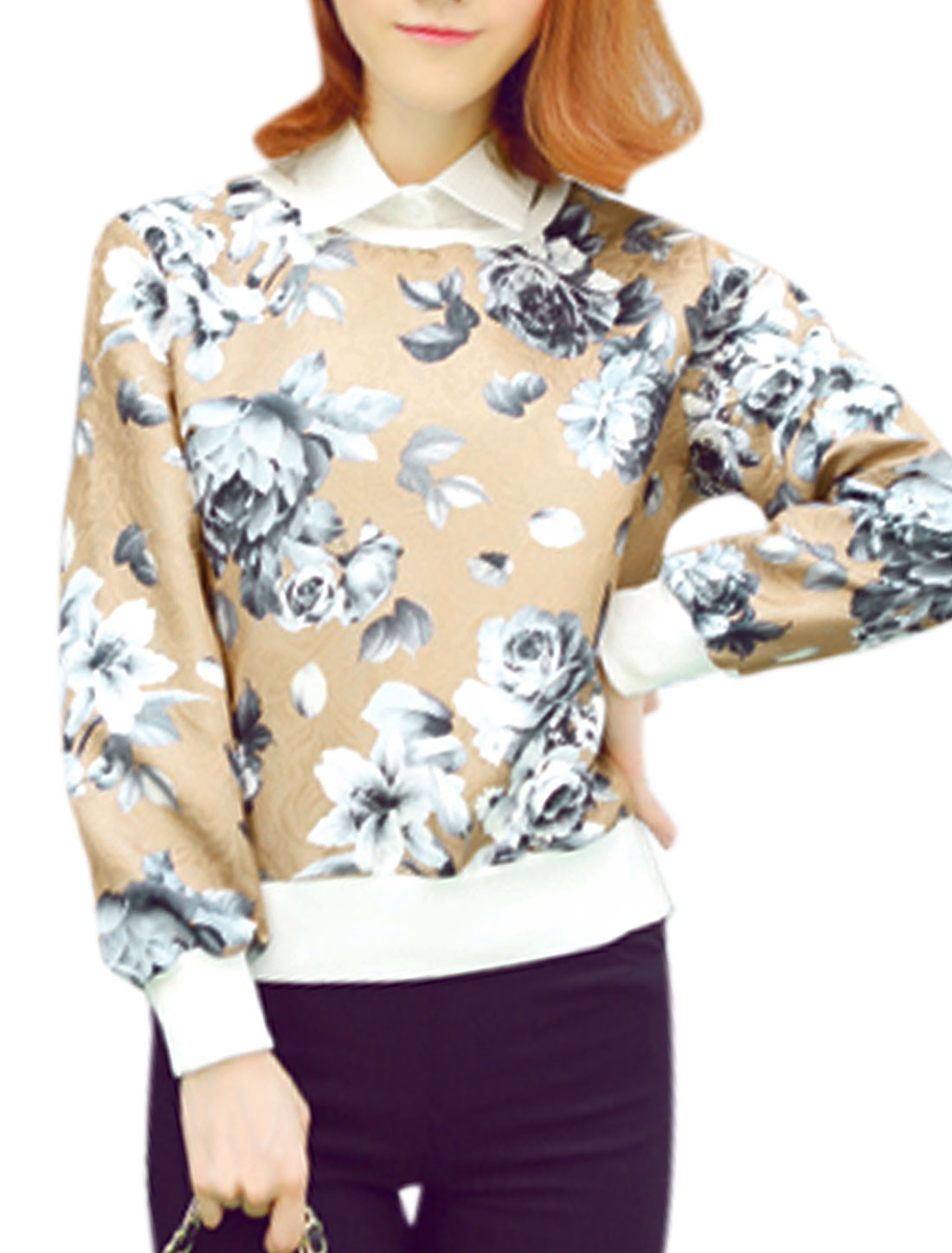 Ladies Khaki Pullover Floral Prints Removable Collar Leisure Sweatshirt XS