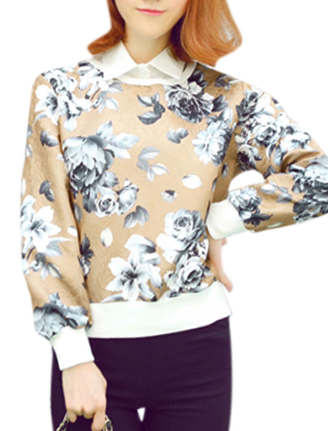 Ladies Khaki Pullover Floral Prints Removable Collar Leisure Sweatshirt XS