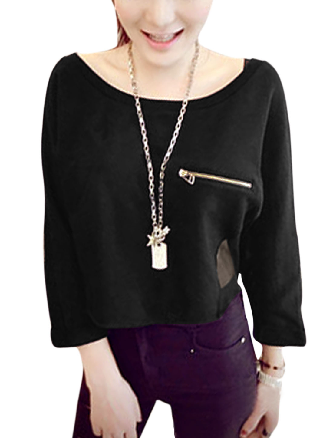Women Round Neck 3/4 Sleeve Chiffon Spliced Slipover Stylish Shirt Black XS