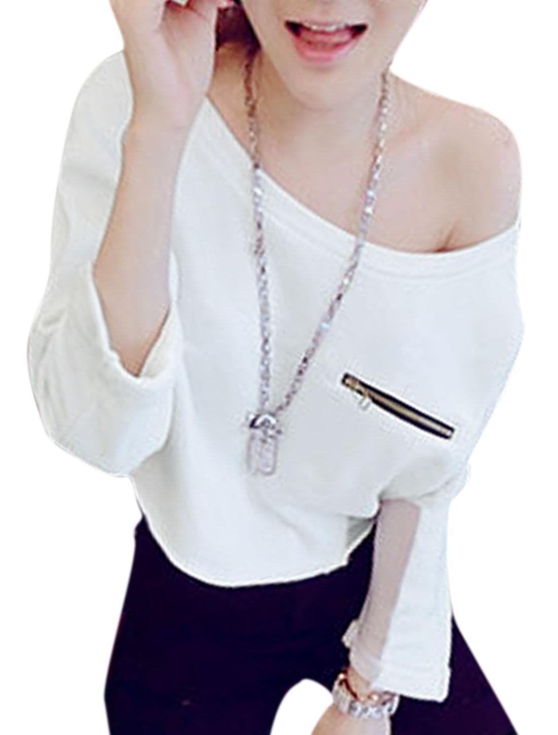 Women Batwing Sleeve Chiffon Panel Zipper Decor Front Slipover Shirt White XS
