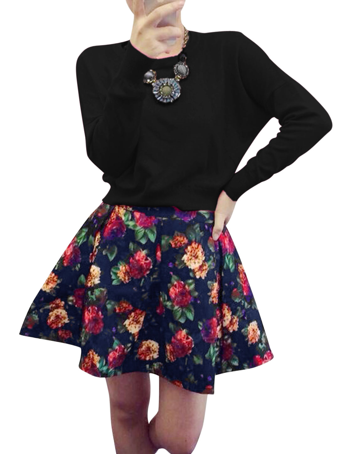 Lady Black Ruched Detail Pullover Top w Floral Prints Mid Rise Skirt Set XS