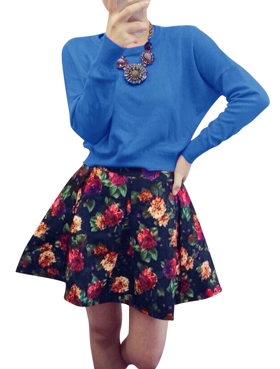 Ladies Blue Round Neck Slipover Top w Flower Prints Mid Rise Skirt Set XS