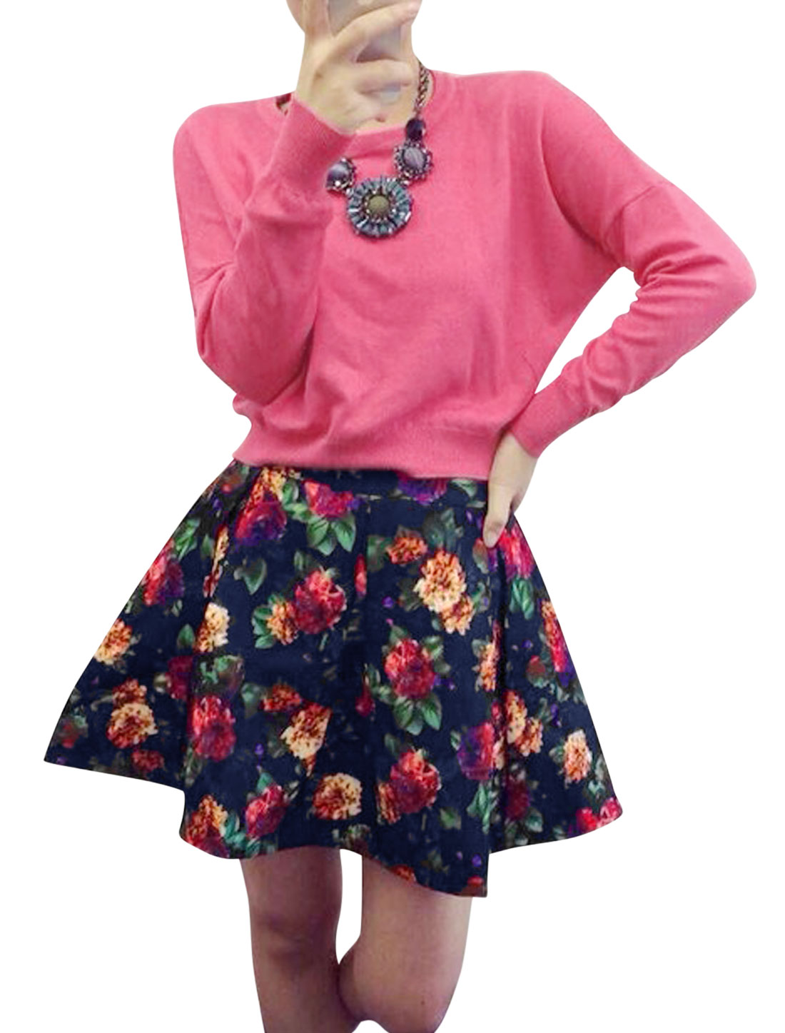Ladies Fuchsia Bat Sleeves Pullover Top w Floral Prints Skirt Set XS