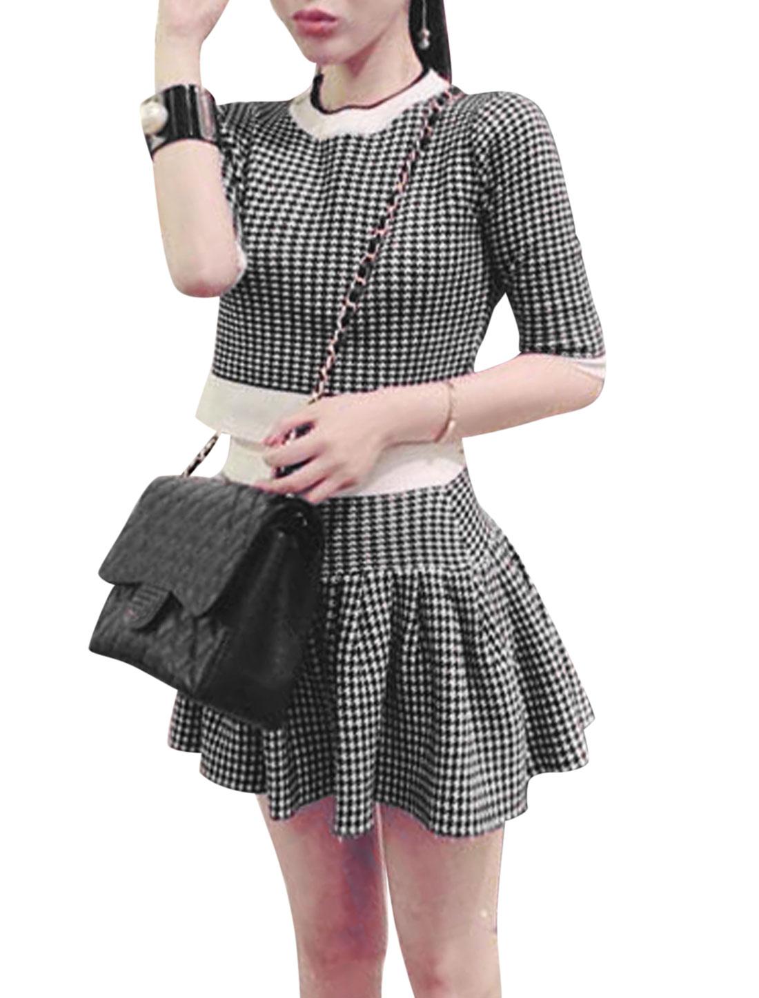 Women Crew Neck Houndstooth Pattern Top w Elastic Waist Skirt Sets Black White S