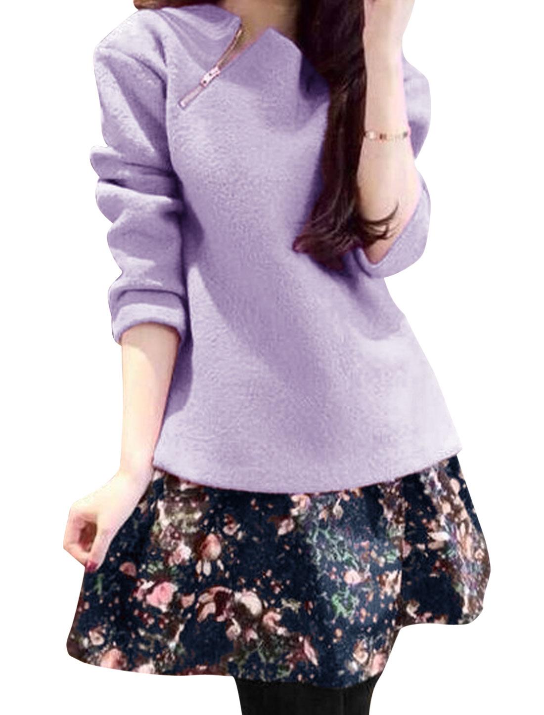 Lady Purple Zipper Side Top w Navy Blue Floral Prints Elastic Skirt Set XS