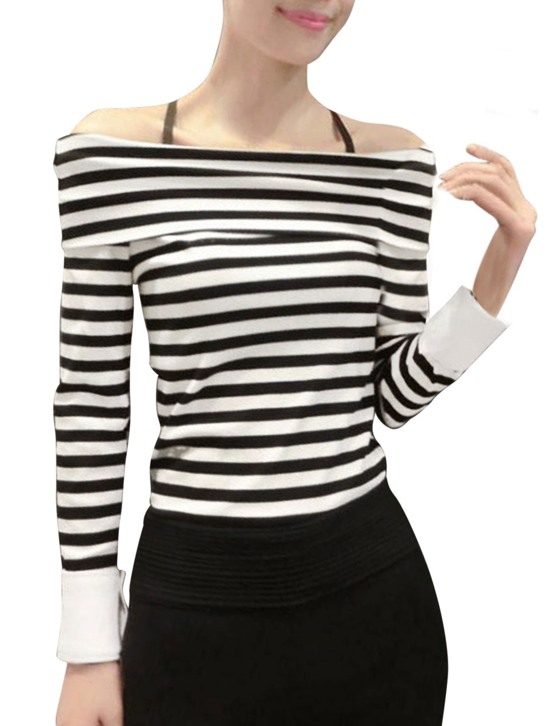 Women Black Beige Boat Neck Long Sleeve Stripes Splicing Cuffs Casual Tops XS