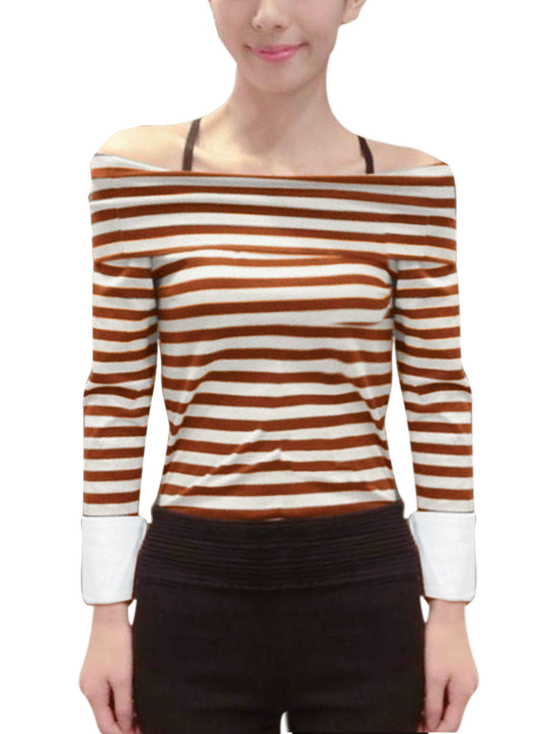 Women Burgundy Beige Boat Neck Long Sleeve Stripes Splicing Cuffs Form-fitting Casual Tops XS