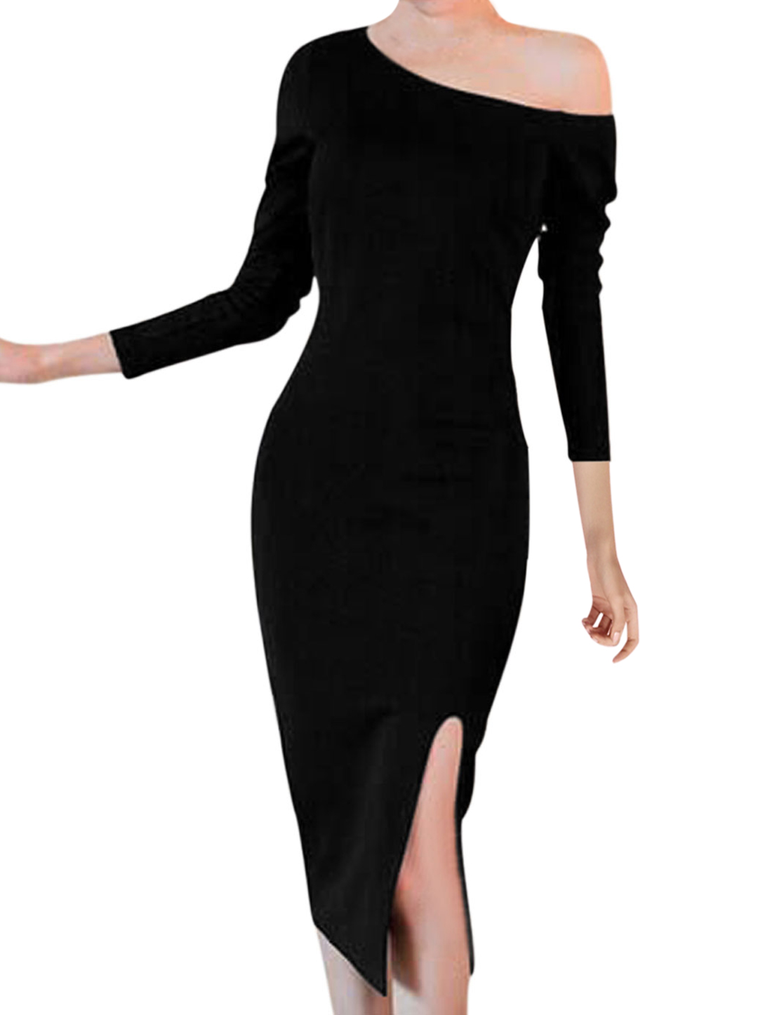 Women Black One Shoulder Long Sleeve Split Side Form-fitting Sheath Dress S