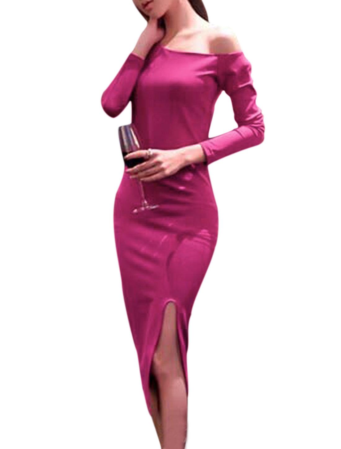 Women Fuchsia One Shoulder Long Sleeve Split Side Slim Fit Sheath Dress S