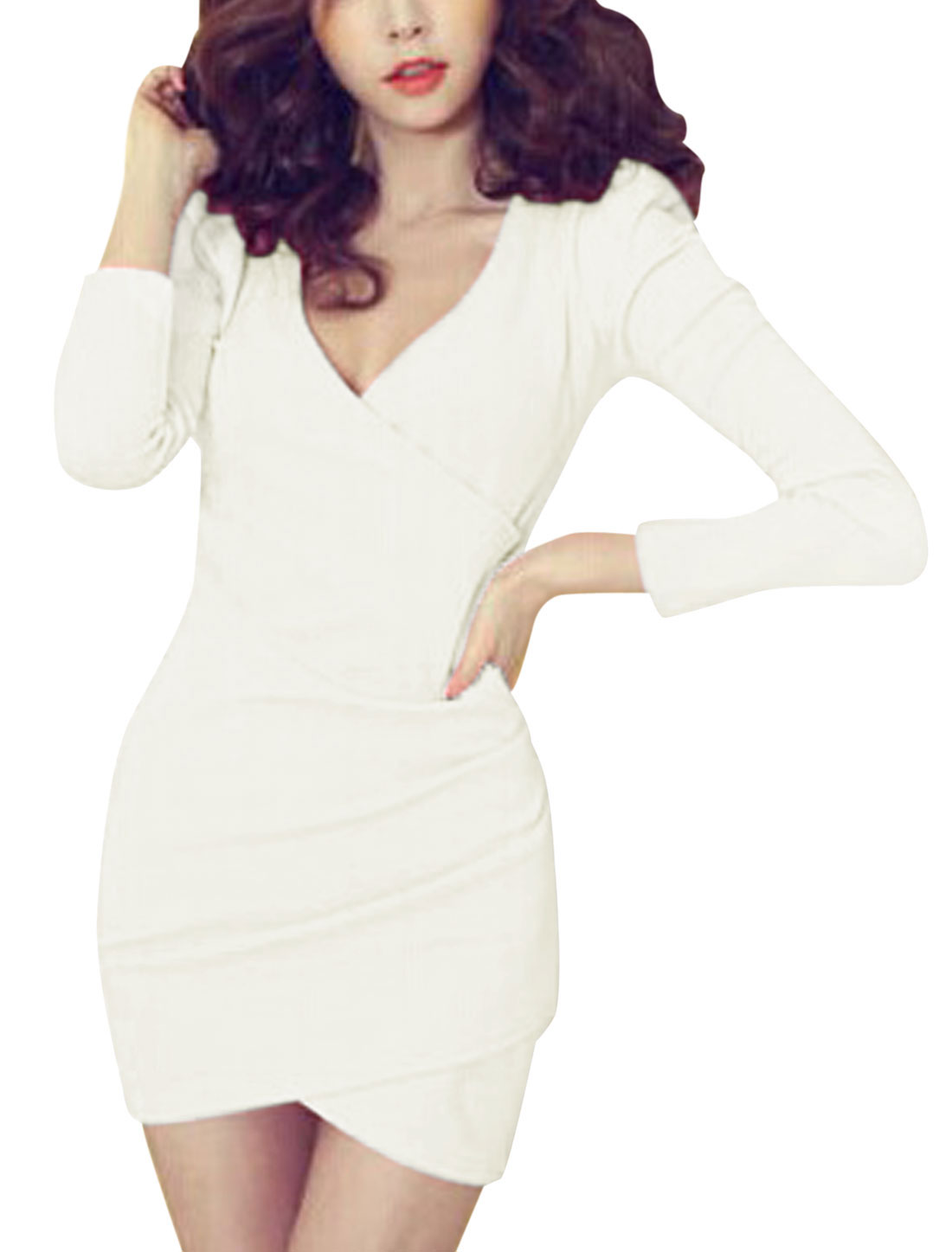 Ladies Long Sleeves Ruffled Detail Pullover White Sheath Dress S