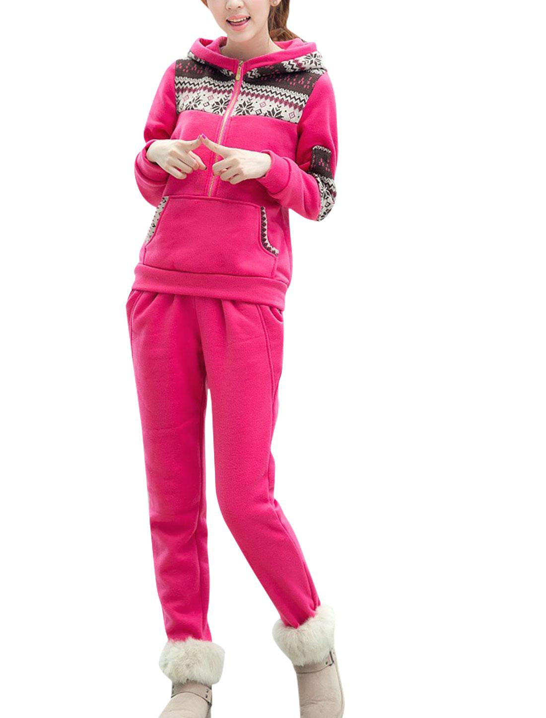 Ladies Fuchsia Kangaroo Pocket Snowflake Prints Sweatshirt w Mid Rise Pants Set M
