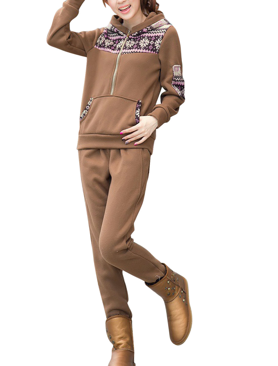 Ladies Brown 3/4 Placket Geometric Prints Sweatshirt w Elastic Pants Set M